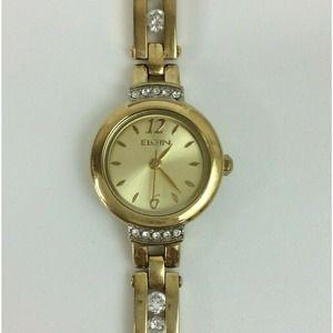 Vintage Elgin Ladies Watch Pave Crystal Gold Tone